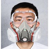 15 In 1 Gas Mask Paint Spray Set 6200 Respirator Carbon Cartridges 5n11 Dust Filters 10pcs Safety Eye Protection Glasses Repair