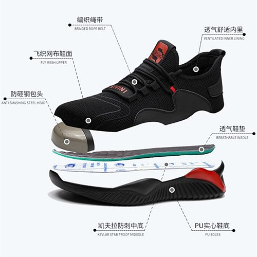 Free shipping Work Safety Boot Men Steel Toe Safety Shoes Puncture-Proof Outdoor Sneakers Men shoes Indestructible Shoes