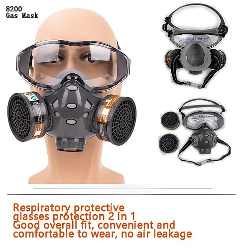 Full Face Gas Mask With Safety Glasse Spray Paint Chemical Pesticide Decoration Formaldehyde  Anti-Dust With Filter Respirator