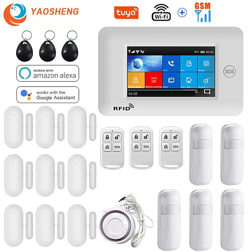 4.3 Inch Touch Panel WIFI GSM Wireless Burglar Home Security Alarm System TUYA Smart life APP Control Compatible With Alexa