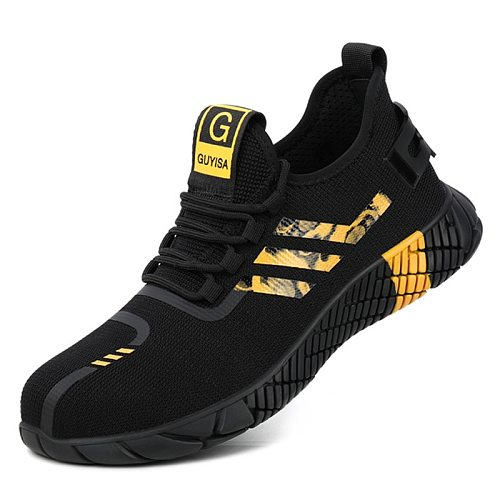 Summer Work Shoes Breathable Mesh Anti-Smashing Safety Shoes Men Lightweight Non-slip Men Safety Shoe Men's Work Boots Plus Size