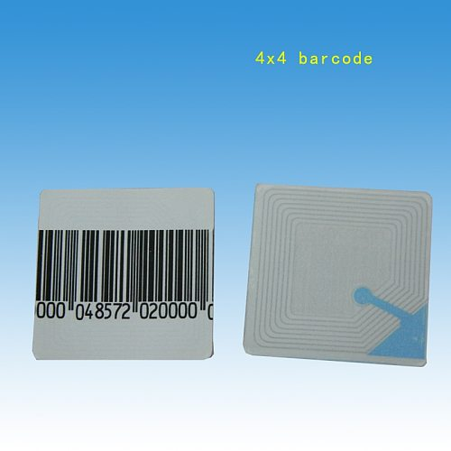 HOUZE, 1000PCS/lot,  EAS soft label 4x4cm with barcode, rf anti theft sticker, security barcode labels for retail store