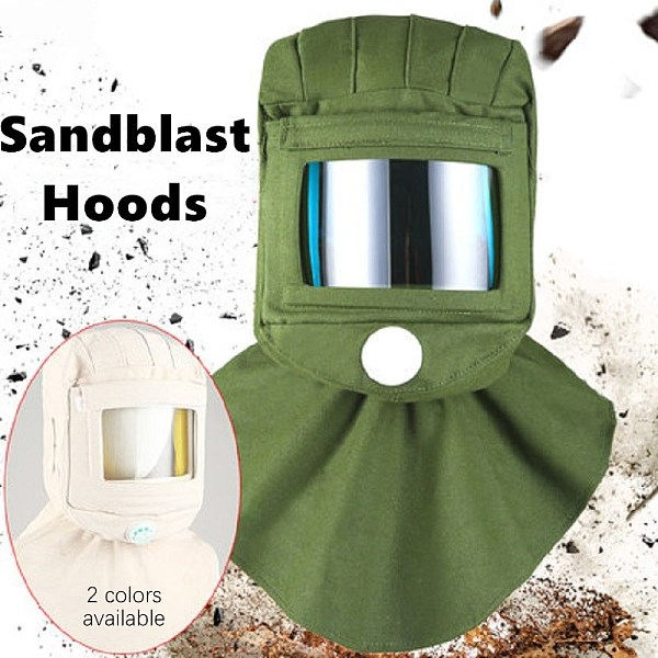Painting Hood Helmet with Large View Screen Sandblasting Valve Transparent Glass Anti Dust Protection Vans Fabric Wear-resistant
