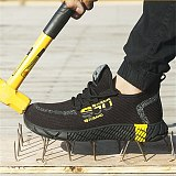 DEWBEST  Safety Shoes For Men Indestructible Anti-smashing Steel Cap Safety Work Shoes Men Security Boots Work Shoes Sneakers