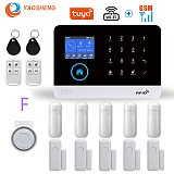 Wireless WIFI GSM Home Security Alarm System For Tuya Smart Life APP With Motion Sensor Detector Compatible With Alexa & Google
