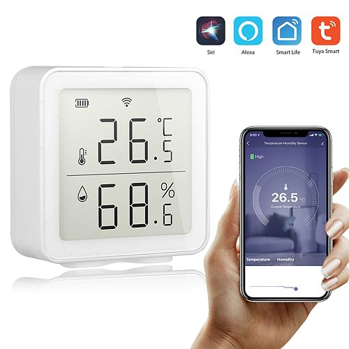 Tuya WIFI Temperature And Humidity Sensor Indoor Hygrometer Thermometer With LCD Display Working With Smart Life/Alexa Google