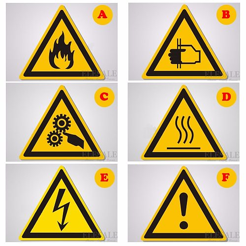 5Pcs Warning Signs Stickers Security Work Safety Warning Labels Water-Proof Oil-Proof Wall Machine Tags Sticker