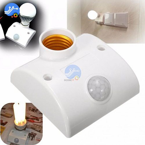 E27 AC110-220V 50/60HZ 5LUX Motion Sensing Switch Infrared Motion Sensor Automatic Light Lamp Holder Switch White