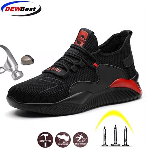 DEWBEST Breathable Safety Shoes Men Summer Lightweight Work Shoes Steel Toe Puncture-Proof Work Sneakers Indestructible Shoes