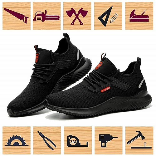 Workplace Safety Supplies Work Shoes Men Steel Toe Cap Indestructible Work Boots Anti-smashing Construction Boots Sport Shoes