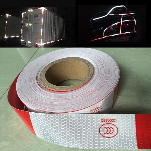 5CM Self-adhesive Reflective Tape High Visibility White And Red Reflective Warning Tape For Van Car Traffic Sign