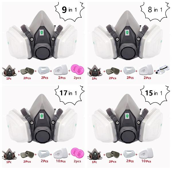 Painting Mask 6200 Half-face Cover Particle Filters 5n11 Smoke 2091 Industrial Polish Protection Eye Goggles Multi-Combination