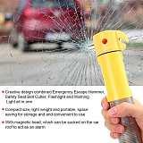 4-in-1 Car Emergency Escape Safety Hammer Window Breaker Seatbelt Cutter Flashlight Warning Light