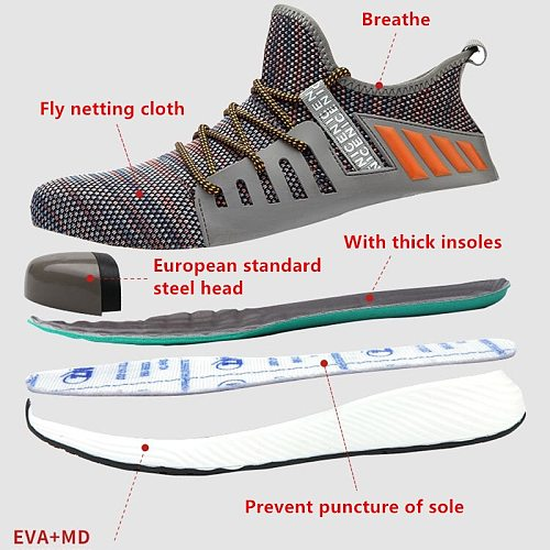 Steel Toe Safety Shoes Mens Lightweight Breathable Puncture Proof Light Sneaker Non-slip Industrial & Construction Work Shoes