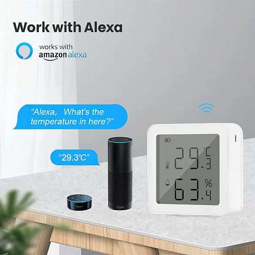 Tuya Smart life WiFi Temperature And Humidity Sensor Indoor Hygrometer Thermometer With LCD Display Support Alexa Google Home
