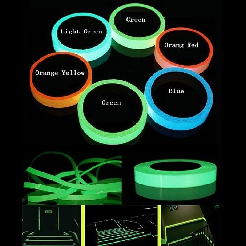 1cm*1M Blue Green Light Green Stored Luminous Tape Self-adhesive Glowing Night /Dark Safety Stage Striking Warning Safety Tape