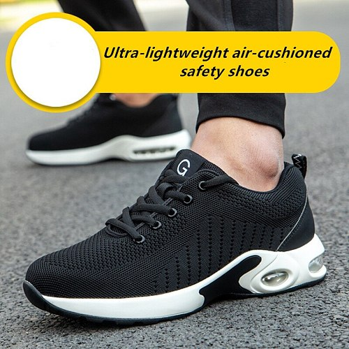 DEWBEST Safety Shoes Men Lightweight Breathable Puncture Proof Light Sneaker Non-slip Industrial & Construction Work Shoes