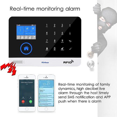 Marlboze EN RU ES PL DE Switchable Wireless Home Security WIFI GSM GPRS Alarm system APP Remote Control RFID card Arm Disarm