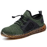 DEWBEST New Breathable Mesh Safety Shoes Men Light Sneaker Indestructible Steel Toe Soft Anti-piercing Work Boots Plus size