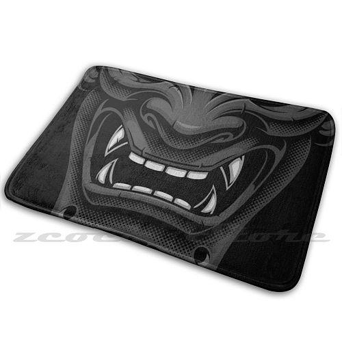 Black Japanese Oni Demon Mask Mat Doorway Non-Slip Soft Water Uptake Carpet Video Games Gamer Ghost Of Tsushima Ps4 Action