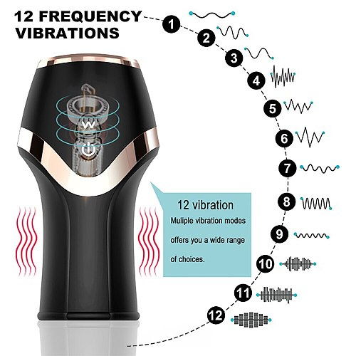Upgrade Motor Male Blowjob Training Cup with 12 Vibration Modes Increase Endurance Satisfy Her Sexual Desire Extend Passion Time
