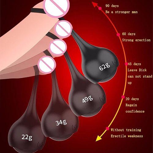 Stronger Glans Trainer Penis Extender Cock Ring 4 Ball Heavy Weight Hanger Stretcher Jj Enlargement Silicone Dumbbell For Men