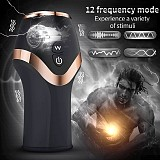 Rechargeable Sucking Massager Automatic Piston Telescopic Rotation 12 Speeds Vibration Oral Cups Electric Cyclone Device for Men