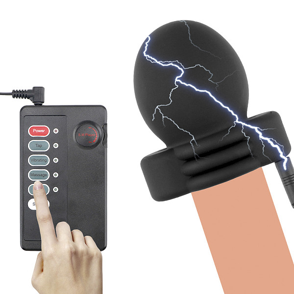 IKOKY Electric Shock Therapy Penis Massage Penis Electro Stimulator Adult Products Glans Trainer Sex Toys For Men Delay Training