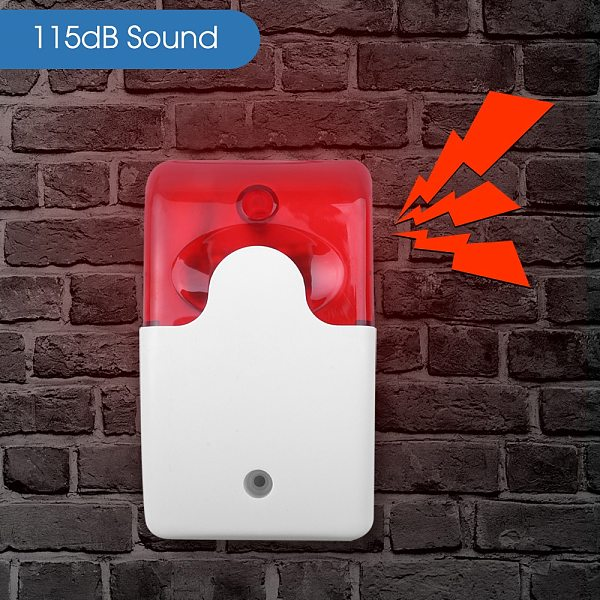 Mini Wired Strobe Siren Durable 12V Sound Alarm Strobe Flashing Red Light Sound Siren for Home Security Alarm System 115dB