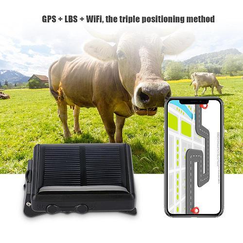 Portable WiFi Animal GSM GPRS GPS Locator Waterproof Solar Power Tracker Anti-lost for Cow Waterproof GPS Locator Solar Power