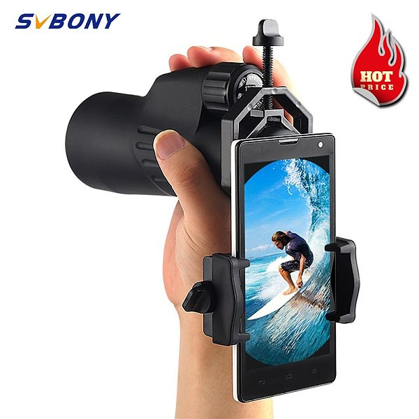 SvBony Universal Cell Phone Adapter Clip Mount Binocular Monocular Spotting Scope Telescope Phone Support Eyepiece for D:25-48mm