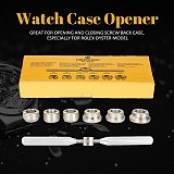 7 Pcs Watch Tools Kits Watch Back Case Cover Opener Removal Set Wrench + 6 Dies Part Watch Repairing Accessories 5537 For ROLEX