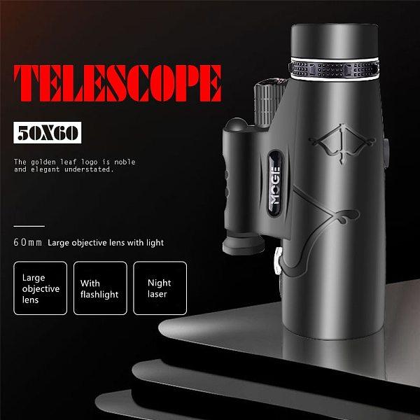 Professional Monoculars Powerful HD Telescope 50x60 With Lamp LightingHigh Power HD Monocular, BAK4  Dual Focus Telescope