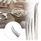 Stainless Steel Tweezer Plier High Hardness Curved Straight Tip Antimagnetic Precision Jewelry Watch Repair Tool for Watchmaker