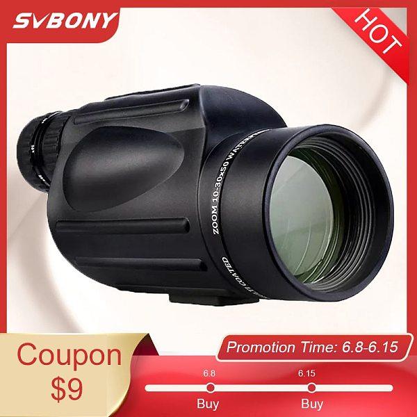SVBONY Powerful Monocular SV49 10-30X50 Zoom Telescope Waterproof Military Hunting Night vision Professional Optical Spyglass