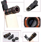 Universal 8X8 Optical Zoom Telescope Camera Lens Clip Mobile Phone Binoculars Telescope For iPhone6 Samsung HTC Huawei Xiaomi