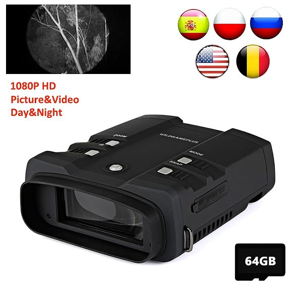 WILDGAMEPLUS WG500B 1080P HD Night Vision Binoculars 3.6-10.8 Digital Zoom Infrared Hunting Night Vision Binocular IR Telescope
