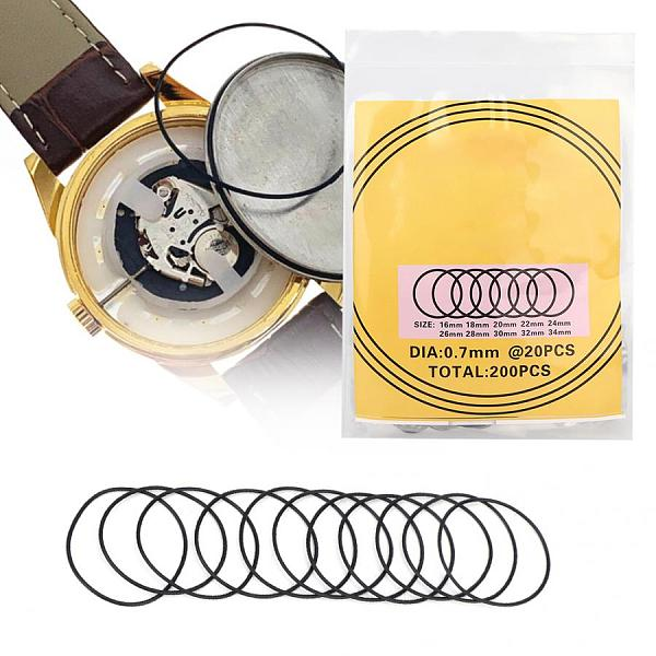 200pcs Watch O-Ring Waterproof Rubber Seal Watch Back Cover Seal Gaskets Replacement Tool Watch Repair Tool for Watchmaker