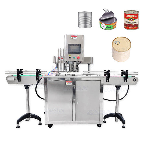 ZONESUN Automatic Round Bottle Fruit Glasses Aluminum Tin Cans Screw Plugging Capping Machine Tinplate Cover Sealing Machine