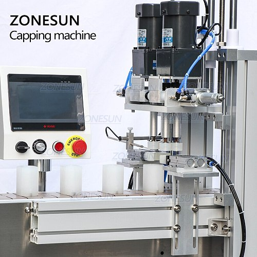ZONESUN Pneumatic Automatic Electric Screw Bottle Plastic Glass Water Juice Small Washing Dropper Spout Pouch Capping Machine