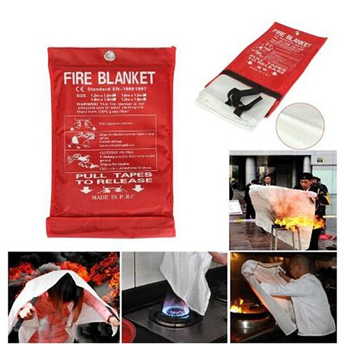 ZK40 Dropshipping 1M x 1M Sealed Fire Blanket Home Safety Fighting Fire Extinguishers Tent Boat Emergency Survival Safety Cover