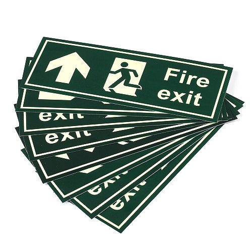 Fire Safety Exit Sign Warning Guidance Signage Luminous Glow In Dark Sticker for Stairway Hallway Hotel Basement Night Vision