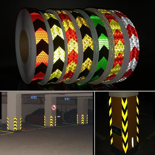 25mmx10m Color Arrow Self-Adhesive Reflective Warning Tape for Body Signs