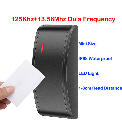 Mini Wiegand 26 34 Dual Frequency Rfid 125khz IC 13.56Mhz NFC Card Door Access Control Slave Reader Proximity RFID Card Reader
