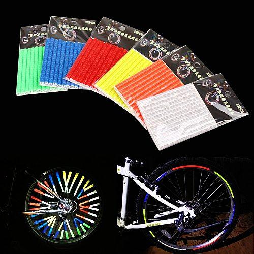 12Pcs Bicycle Reflective Strap Mountain Riding Wheel Rim Spoke Mount Clip Tube Safety Warning Light Flashing Strip Reflector