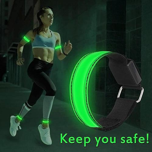 LED Armband Adjustable Wristband Reflective Flashing Strips Ankle Glow Bracelet Safety Light for Night Jogging Walking Biking