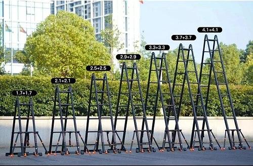 3.7*3.7M multifunctional foldable deformable telescopic aluminum alloy herringbone/I-shaped ladder/straight ladder anti-tilt