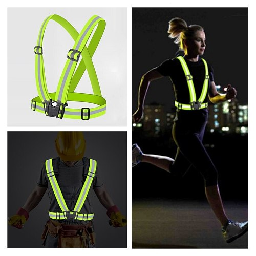 4 Color Adjustable Safety Security High Visibility Reflective Vest Roadway Safety Gear Stripes Jacket Night Running Wholesale