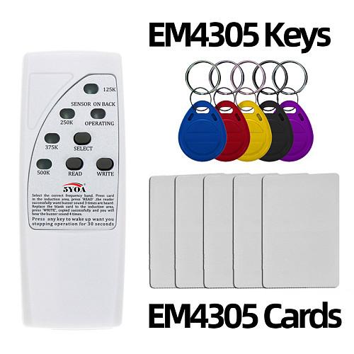 4 Frequency RFID Copier Reader Writer Programmer + 5 Pcs EM4305 T5577 Rewritable ID Keyfobs Tags Card