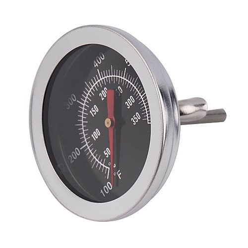 Stainless Steel BBQ Smoker Pit Grill Bimetallic thermometer Temp Gauge with Dual Gage 500 Degree Cooking Tools